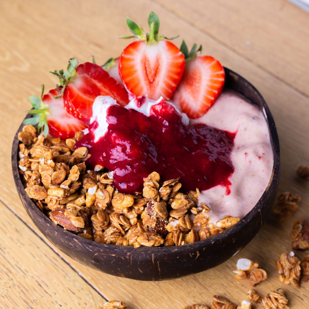 Acai Bowls with Granola and Strawberries
